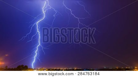 Large Lightning Strike from cloud to ground in Johannesburg South Africa stock photo