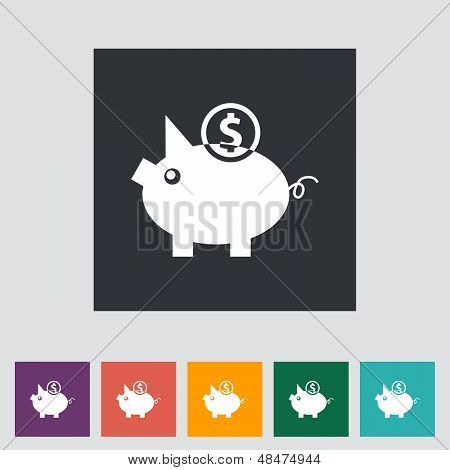 Piggy bank icon. Vector illustration.  EPS 10 stock photo