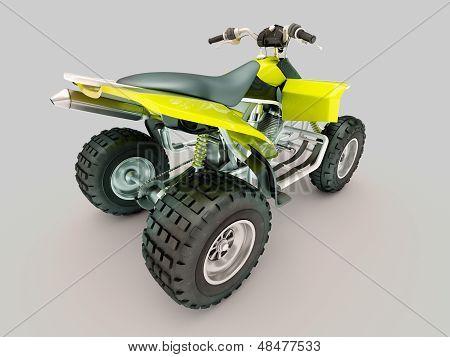 Sports quad bike on a grey background stock photo