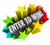 The words Enter to Win in a starburst of vivid firecrackers to show entering or winning a cont