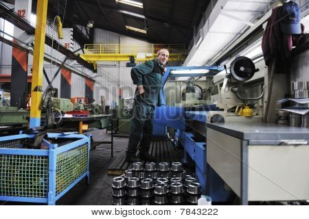 engineering people manufacturing industry with big modern computer machines stock photo