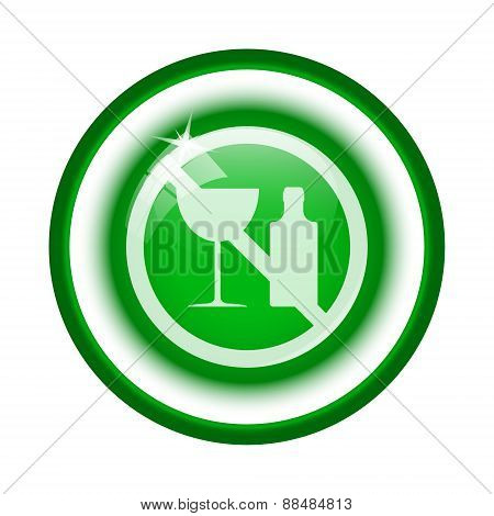 No alcohol icon. Internet button on white background. stock photo