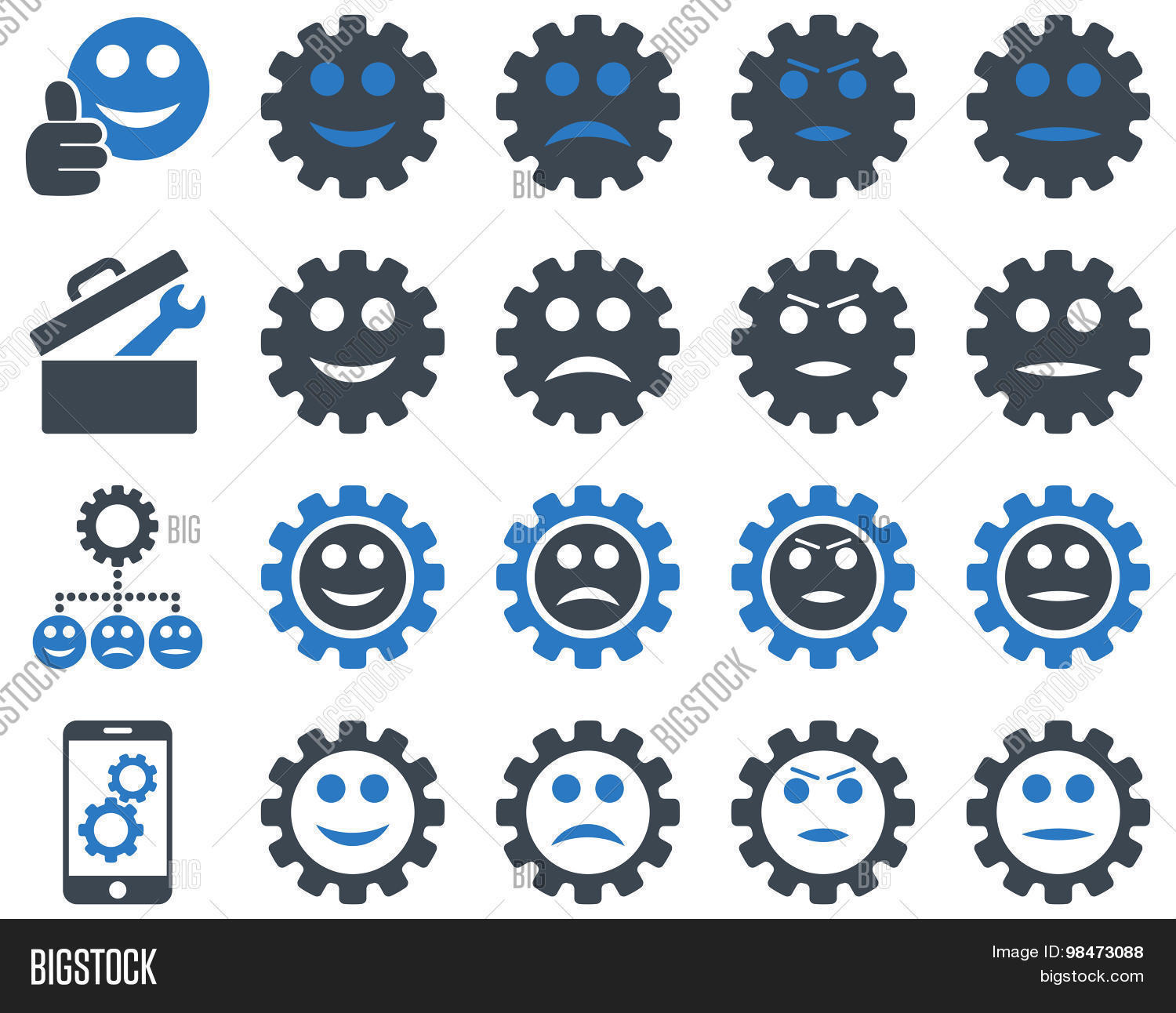 Tools and Smile Gears Icons. Vector set style: bicolor flat images, smooth blue colors, isolated on a white background.