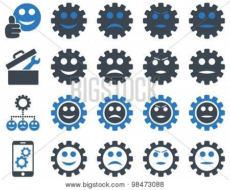 Tools and Smile Gears Icons. Vector set style: bicolor flat images, smooth blue colors, isolated on a white background. stock photo