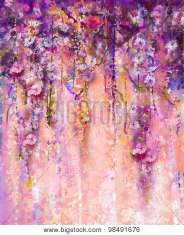 Abstract Pink And Violet Color Flowers, Watercolor Painting. Hand Paint Flower Wisteria Tree