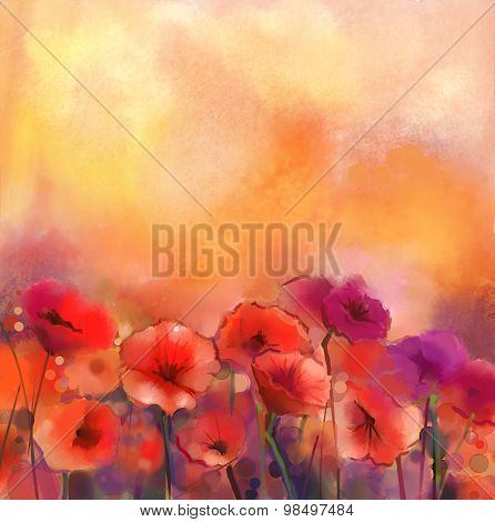 Watercolor Red Poppy Flowers Painting-Dishwasher Magnet Skin (size 24x24)