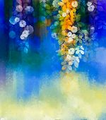 Abstract Flowers Watercolor Painting.hand Paint White Flower With Soft Green Leaves