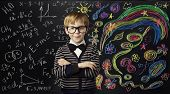 Kid Creativity Education Concept, Child Learning Art Mathematics Formula, School Boy Ideas