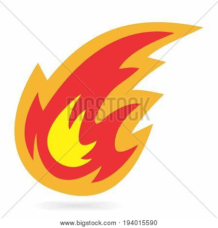 Vector Cartoon Fireball Symbol on white background stock photo