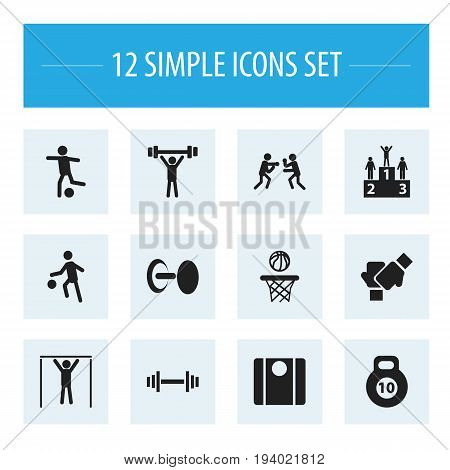 Set Of 12 Editable Exercise Icons. Includes Symbols Such As Strength, Street Workout, Balance And More. Can Be Used For Web, Mobile, UI And Infographic Design.
