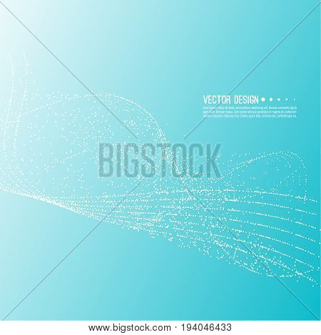 Abstract techno background with atom, molecule in waves. Technology, technical vector. Dynamic stream fragments of neurons dot. Sprayed circle particles in force field array. stock photo