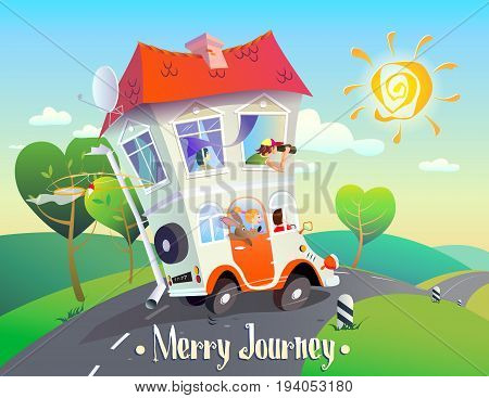 Cheerful creative cartoon illustration on autotravel. A bright stylized image of a house on wheels with an amusing family that rides along the road against the backdrop of a summer landscape. The inscription Merry Journey stock photo