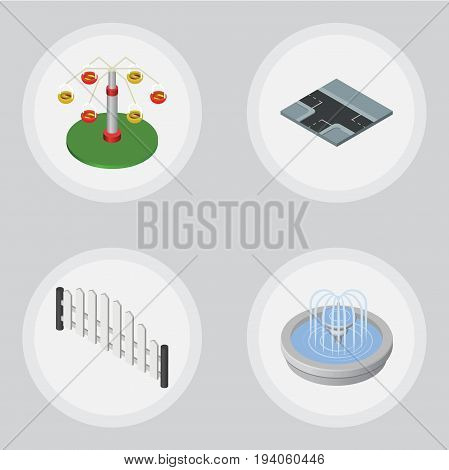 Isometric Urban Set Of Barricade, Swing Attraction, Crossroad And Other Vector Objects. Also Includes Water, Wooden, Way Elements.