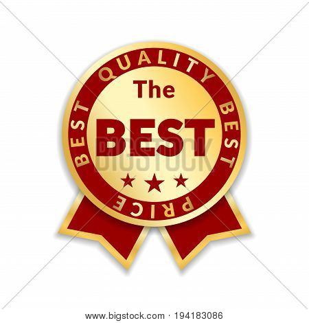 Ribbon award best price label. Gold ribbon award icon isolated white background. Best quality golden design for badge medal best choice price certificate guarantee product Vector illustration stock photo