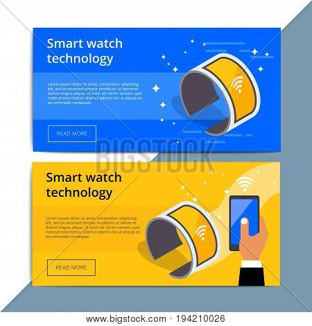 Smartwatch promo web banner ad. Wearable smart watch promotion advertisement layout. Mobile device with wireless technology. IOT appliance background. stock photo