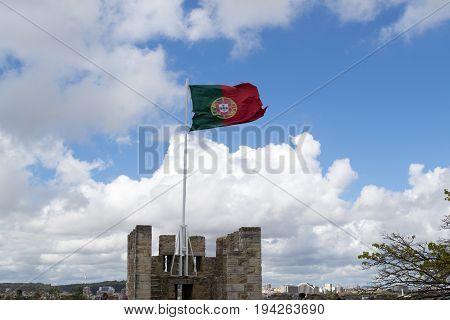 Castelo de Sao Jorge is located on a hilltop overlooking historic Lisbon (Portugal) stock photo