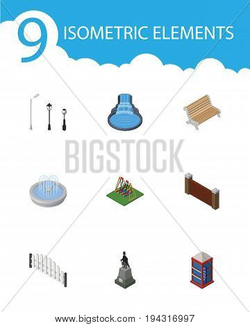 Isometric City Set Of Seat, Barricade, Barrier And Other Vector Objects. Also Includes Sculpture, Bench, Wall Elements.