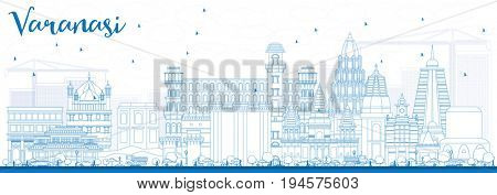 Outline Varanasi Skyline with Blue Buildings. Business Travel and Tourism Concept with Historic Architecture. Image for Presentation Banner Placard and Web Site. stock photo