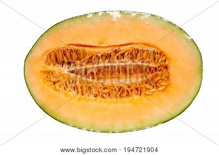 Half hamigua melon is wrapped by plastic film for protection isolated on white background. stock photo