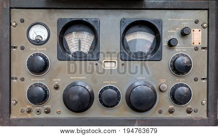 The Old Classic Rack Box Of Military Communication Radio Bandswitching Station. Military Communicati