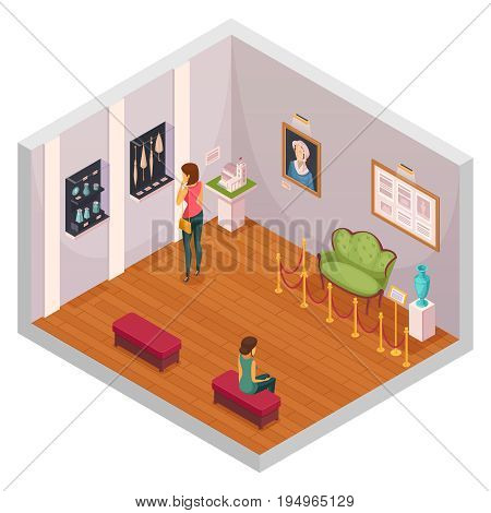 Exhibition isometric composition representing interior of museum hall with visitors exhibits of furniture and accessories vector illustration stock photo