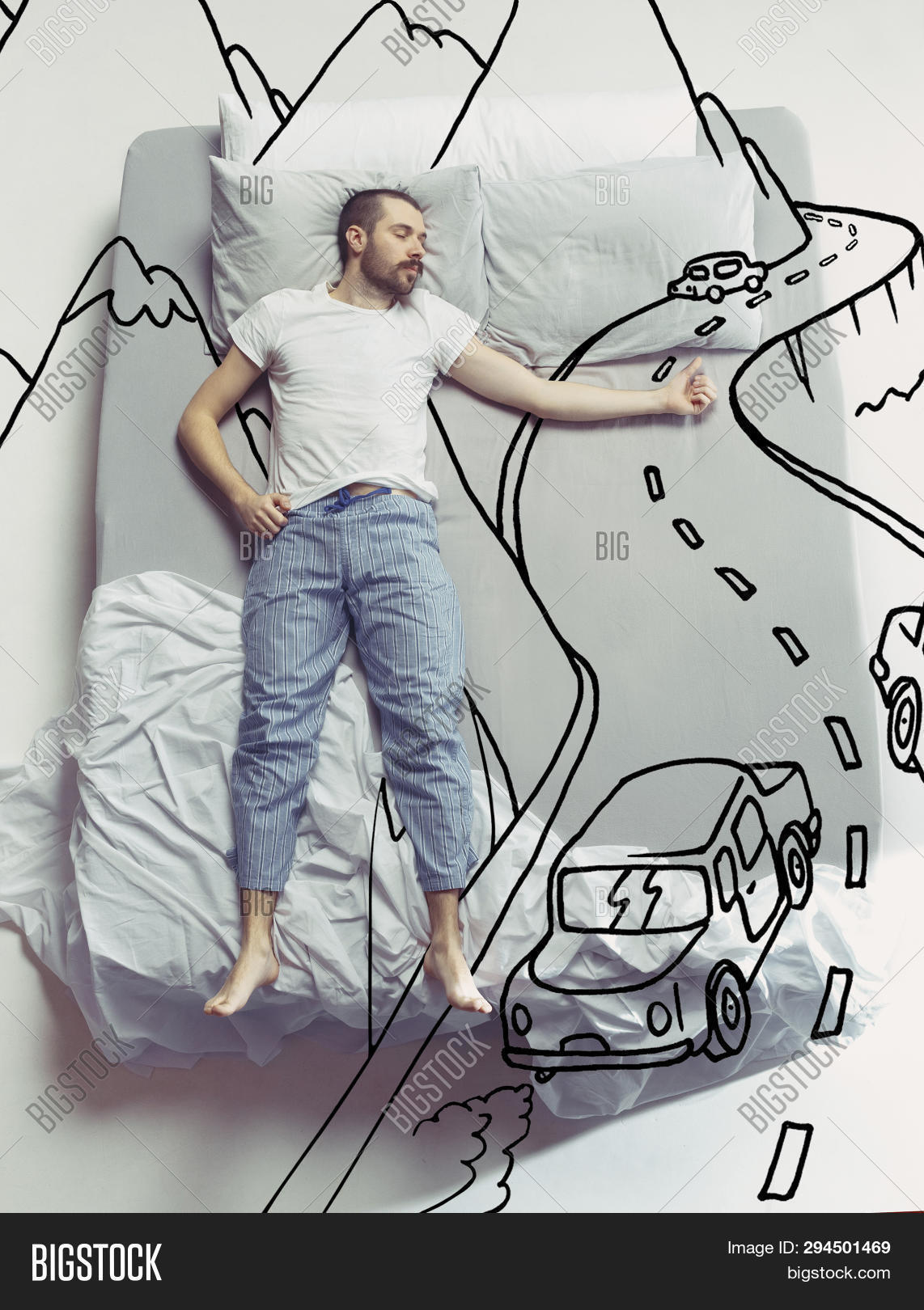 adult,art,bed,bedroom,bedtime,car,caucasian,comfortable,concept,conceptual,creative,creativity,desire,drawing,dream,dreaming,fantasize,handsome,hiking,hitch,home,imagine,inspiration,journey,lifestyle,lying,male,man,morning,mountains,night,one,painted,people,person,pillow,relaxation,rest,resting,sleep,sleeping,summer,top,tour,trip,view,vision,way,weekend,young