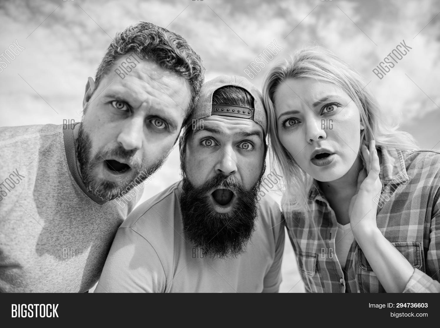 adult,amazed,background,beard,bearded,belief,close,collective,company,confident,emotional,expression,faces,friends,girl,group,hipster,how,impossible,impress,impression,is,look,looking,man,men,mind,news,no,opinion,outdoors,people,shocked,shocking,sky,stand,surprised,team,that,threesome,to,way,woman,you
