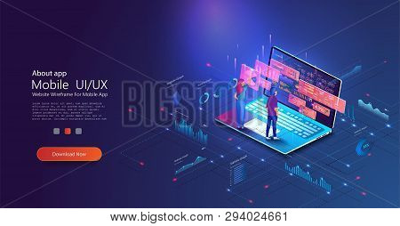 People work and interacting with graphs. Application of laptop with business graph and analytics data on isometric laptop. Website header images on blue background. stock photo