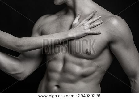 Sexy man, naked body, nude male. Strong mans, bodybuilder, muscular men. Sexy body, nude man. Athletic caucasian, ab, six pack, chest muscles, triceps. Beautiful male torso, ab. Black and white stock photo