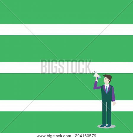Businessman Standing, Holding and Talking on Megaphone with Sound Icon. Man in Suit Looking Up and Speaking on Loudhailer. Creative Background Idea for Announcements and Advisory. stock photo