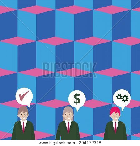 Illustration of Three Business People with Each has Speech Bubble with Optimization Cost Icons. Creative Background Idea for Business Financial Reports and Start Ups Announcements. stock photo