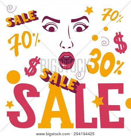 Woman face shopping sale banner vector illustration. Beauty design for salon, make up artist courses training sale. Cosmetic products, professional care. School for beautician. Masterclass. stock photo