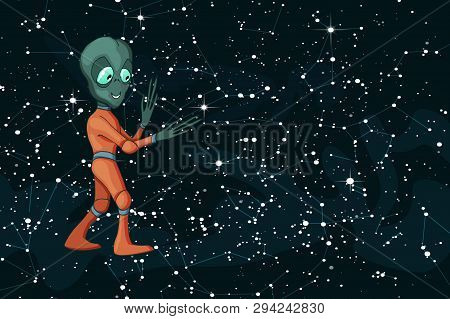 Vector cartoon image of funny alien positive character creature on starfield stock photo