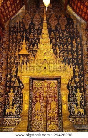 Tripitaka Door temple at Luang Prabang of LAOS stock photo