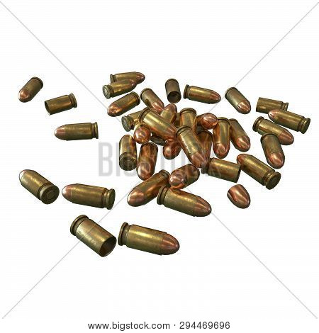 A rifle bullet with gun powder isolated 9 mm 3d illustration stock photo