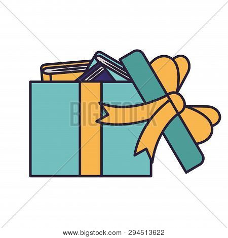 Gift Open With Books Vector Illustration Design