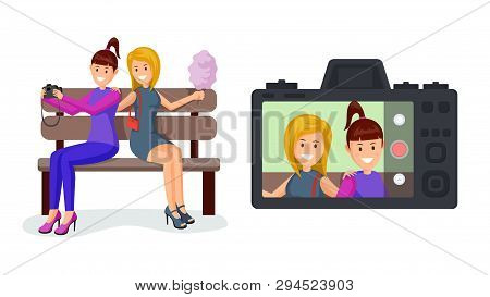 Cheerful girlfriends taking selfie illustration. Girl friends with cotton candy on camera screen cartoon characters. Streamers sitting on bench recording video, female friendship flat design stock photo