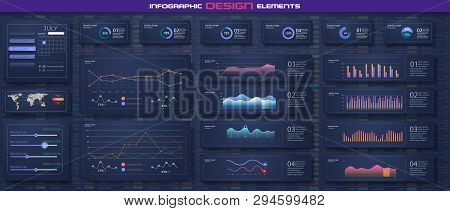 Infographic dashboard template with flat design graphs and pie charts Online statistics and data Analytics. Information Graphics elements for UI UX design. Modern style web elements. Stock vector stock photo