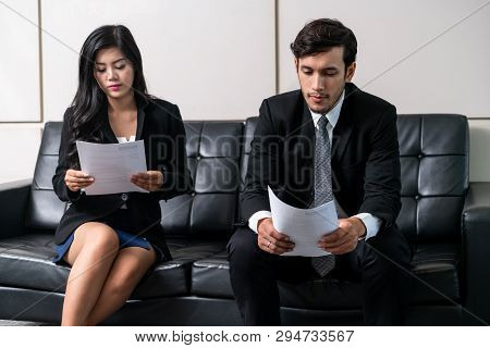 Job seeker applicant go to interview appointment with the human resources department manager in the modern office. Job application, recruitment and employee hiring concept. stock photo