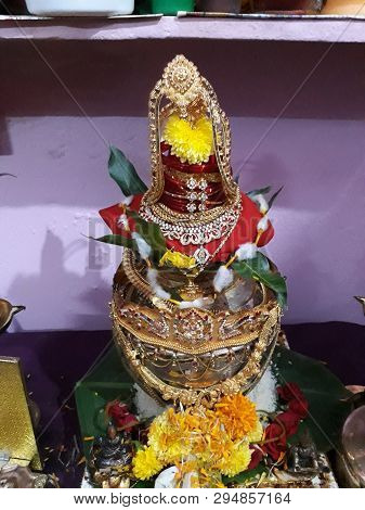 Indian traditional festival and hindu goddess Varalakshmi Vratham or pooja decoration stock photo
