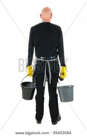 Back of a cleaner with bucket and dustpan and brush stock photo