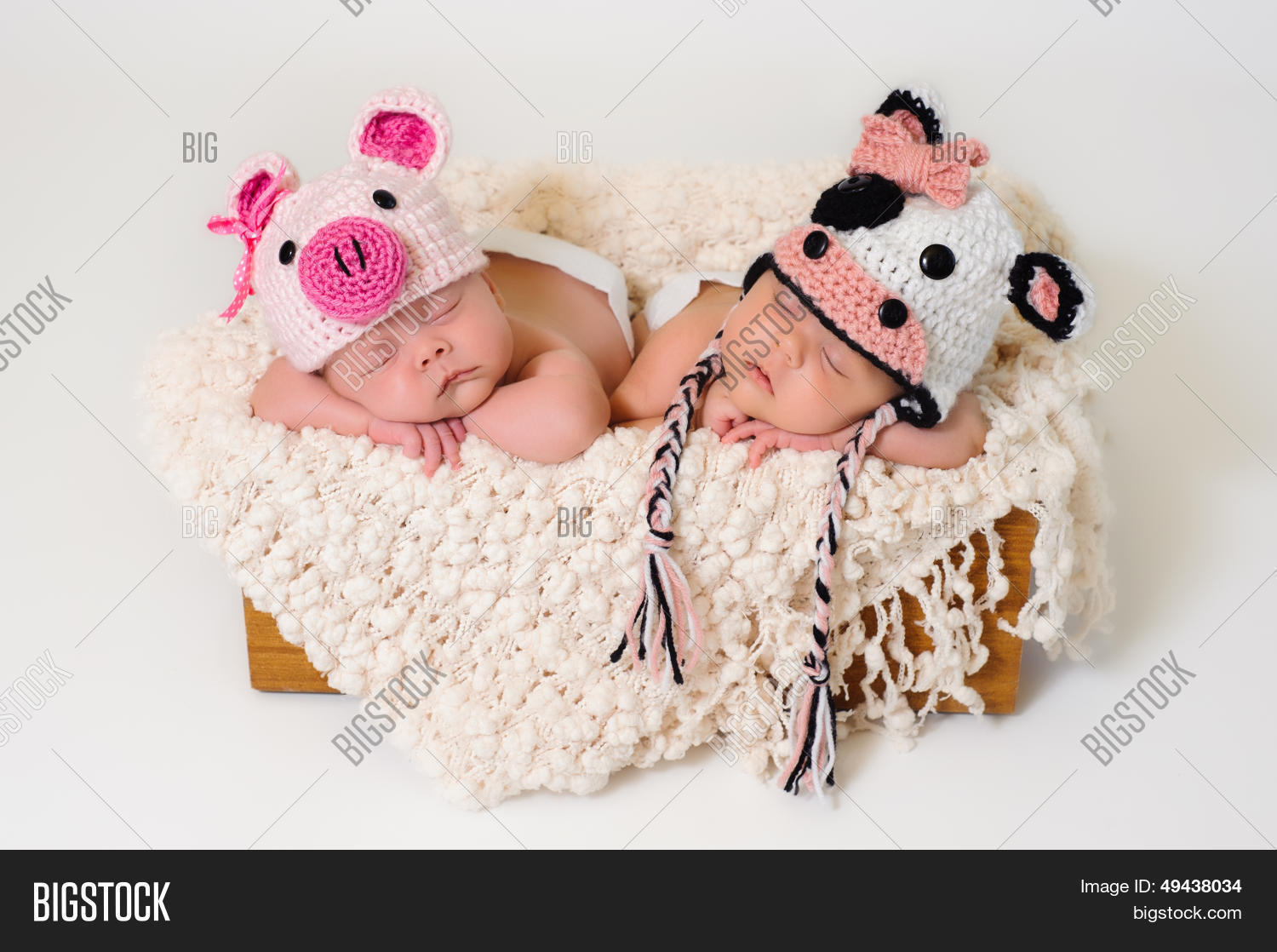 2,adorable,babies,birth,caucasian,color,costume,cow,crochet,crocheted,cute,daughters,down�,female,fraternal,front,girls,hats,human,image,infants,innocence,innocent,lay,lie,lying,multiple,new,newborn,people,pig,portrait,pure,purity,relax,relaxing,siblings,sisters,sleep,sleeping,sleeping baby,tir,twins,two