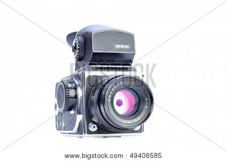 Professional digital photo camera with zoom lens on white background stock photo