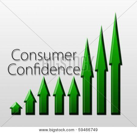 Chart illustrating Consumer Confidence growth macroeconomic indicator concept stock photo