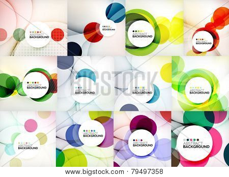 Set of circle abstract backgrounds. Colorful circles modern abstract composition with shadows and te