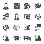 Support contact call focus symbols set