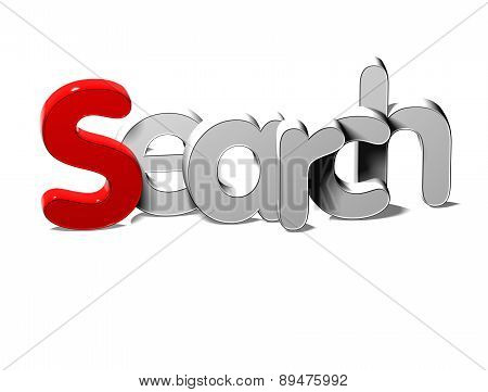 3D Silver Word Search on white background stock photo