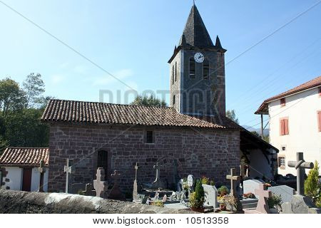 Old church Madalena with old cemetery of the village Madeleine in South-West-France in Europe stock photo