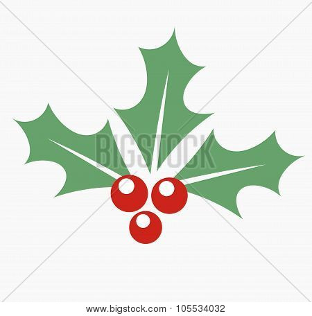 Holly berry icon. Christmas symbol vector illustration stock photo