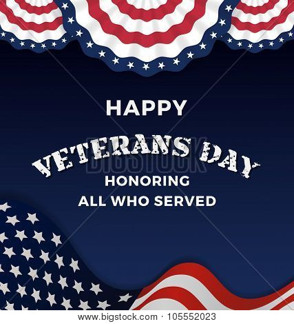 Happy Veterans Day on Dark Background